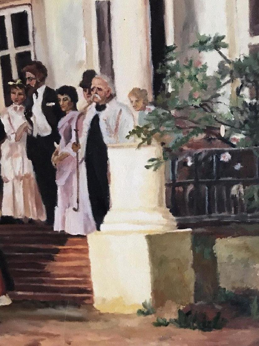 Large late 20thc Russian School, Wedding Party Oil - 7