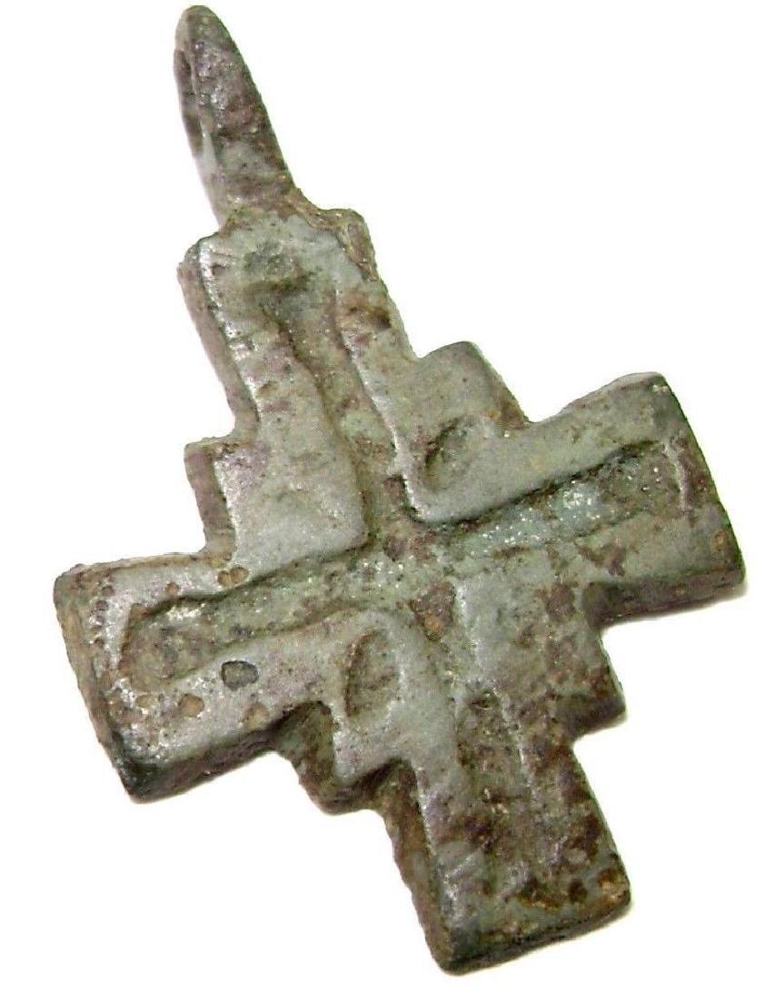Ancient Viking Bronze Cast Cross Pendant Kievan Rus
