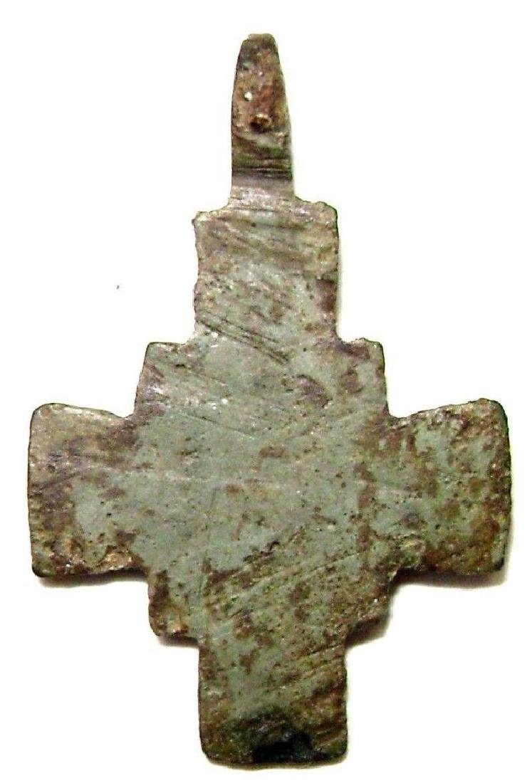 Ancient Viking Bronze Cast Cross Pendant Kievan Rus - 3