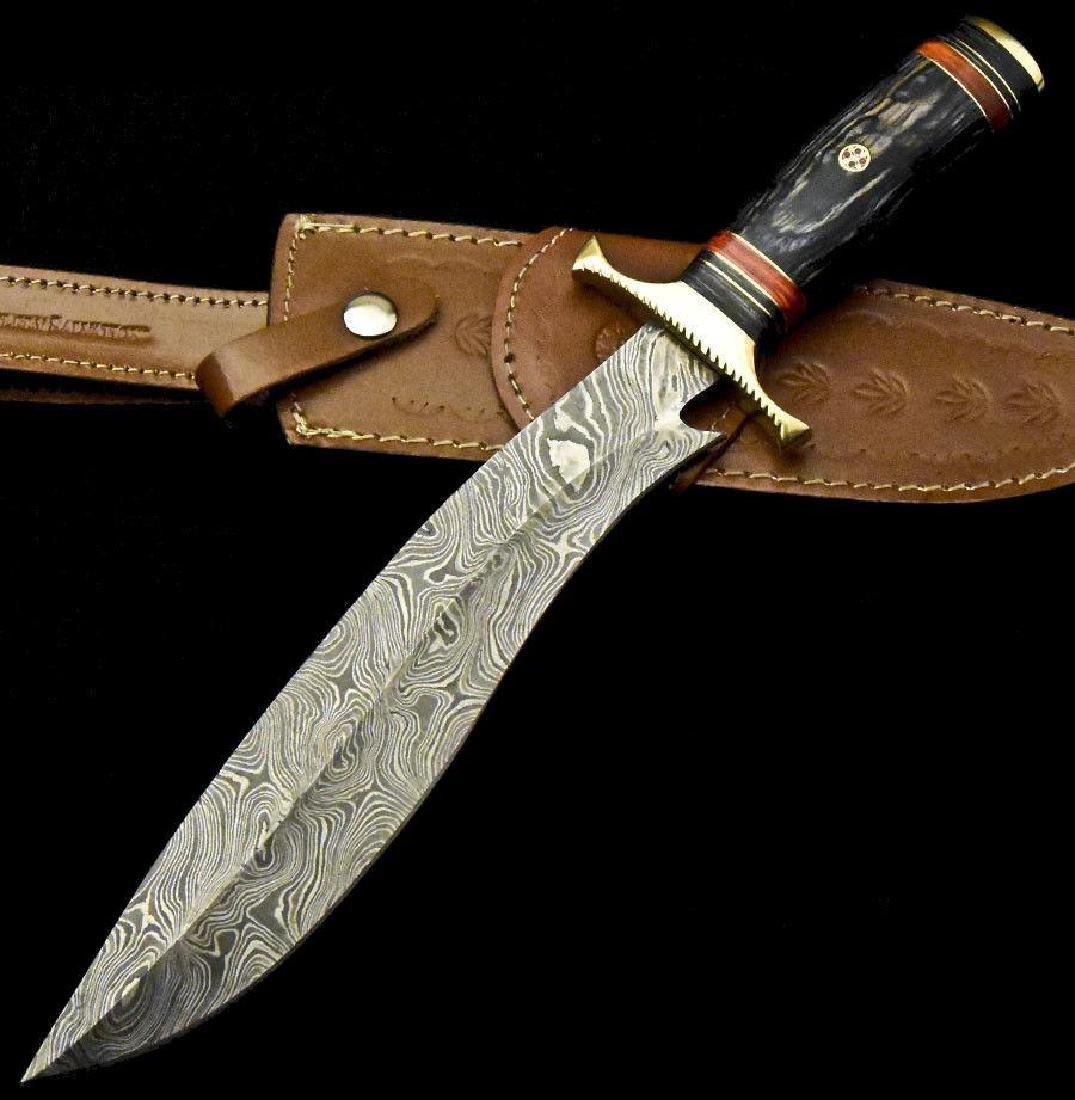 Custom Hand Made Damascus Steel Blade  Hunting Knife By