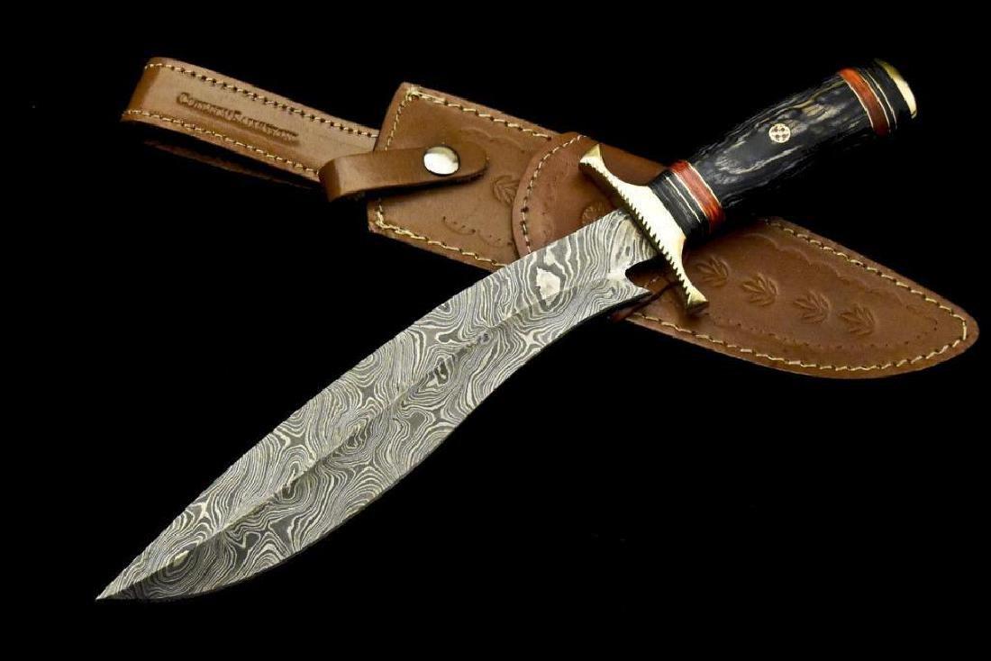 Custom Hand Made Damascus Steel Blade  Hunting Knife By - 2