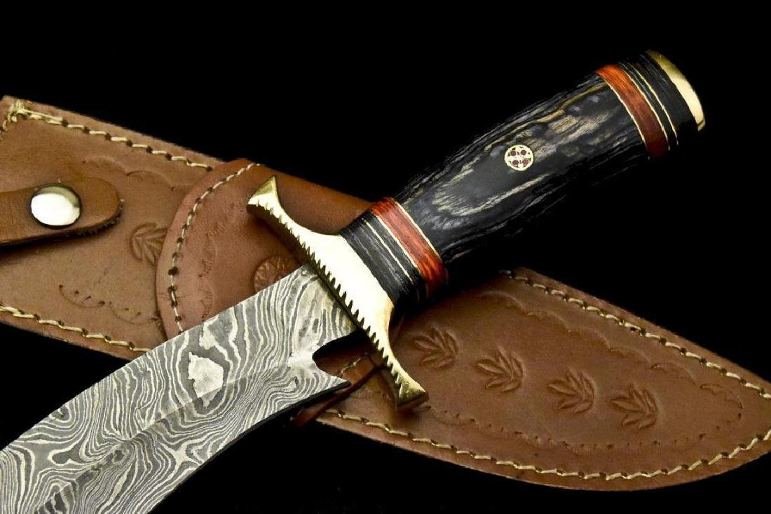 Custom Hand Made Damascus Steel Blade  Hunting Knife By - 3