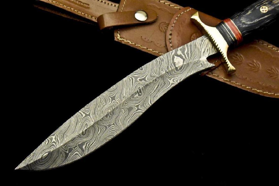 Custom Hand Made Damascus Steel Blade  Hunting Knife By - 4