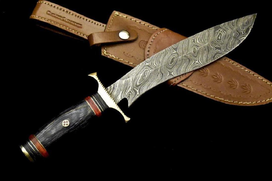 Custom Hand Made Damascus Steel Blade  Hunting Knife By - 5
