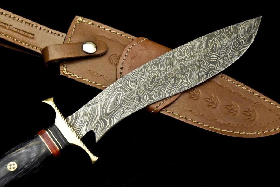 Custom Hand Made Damascus Steel Blade  Hunting Knife By - 6