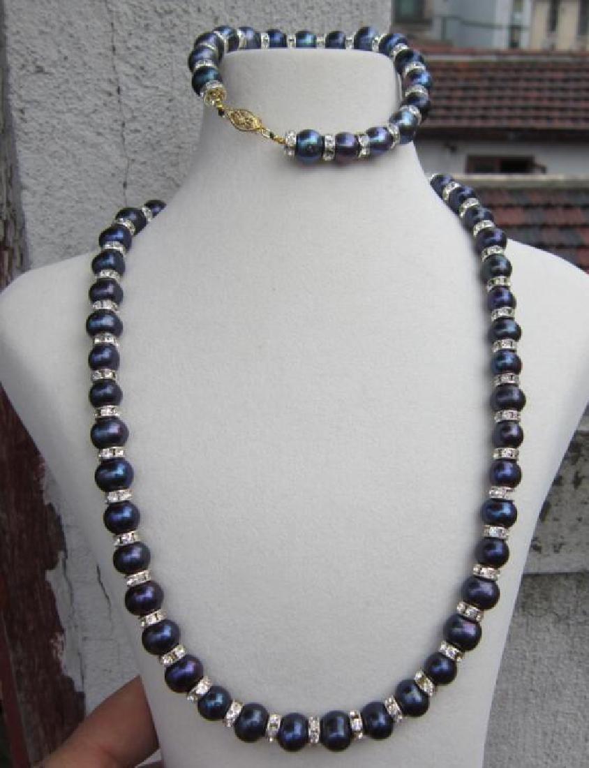 "Tahitian Black Blue Pearl Necklace 18""+ Pearl Bracelet"