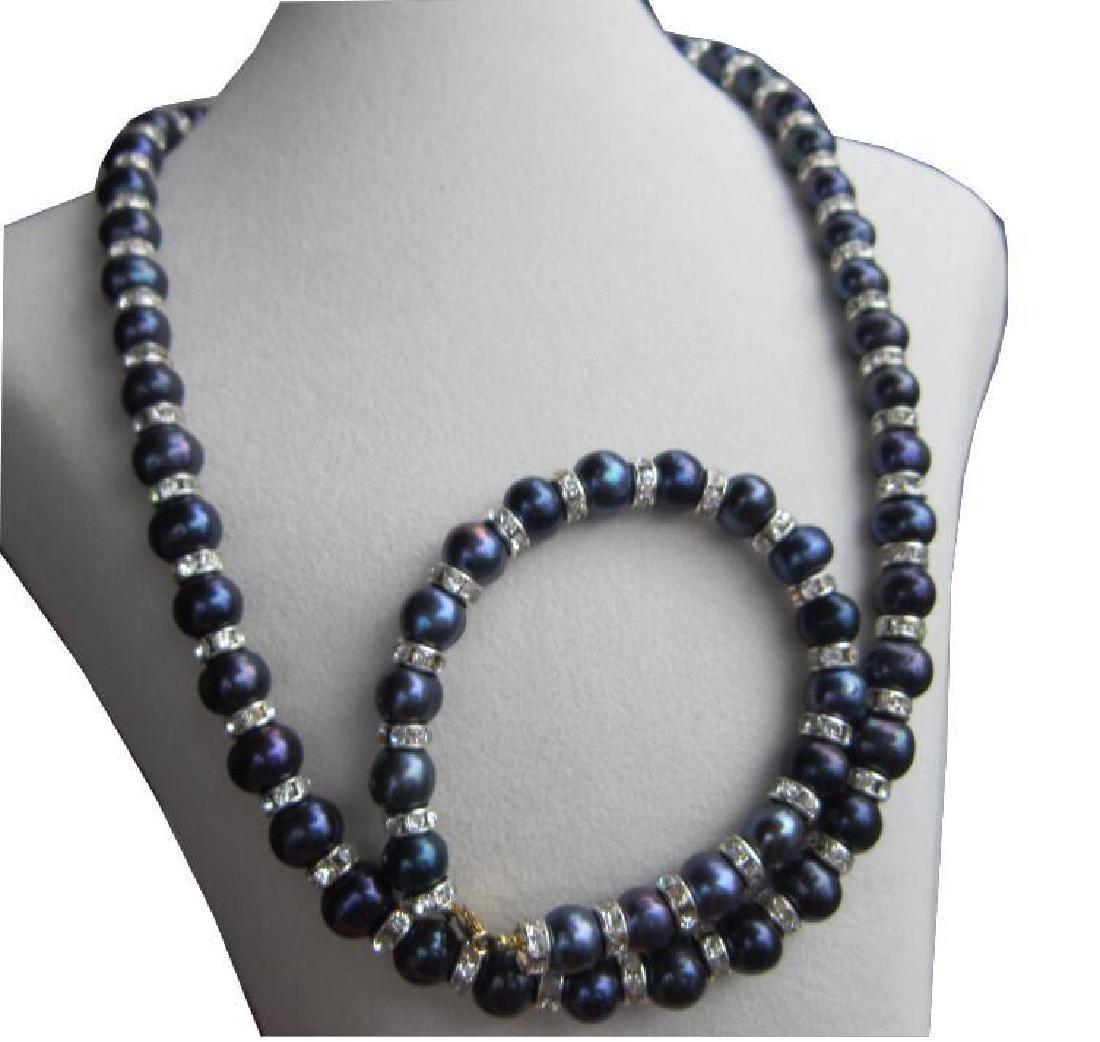 "Tahitian Black Blue Pearl Necklace 18""+ Pearl Bracelet - 2"