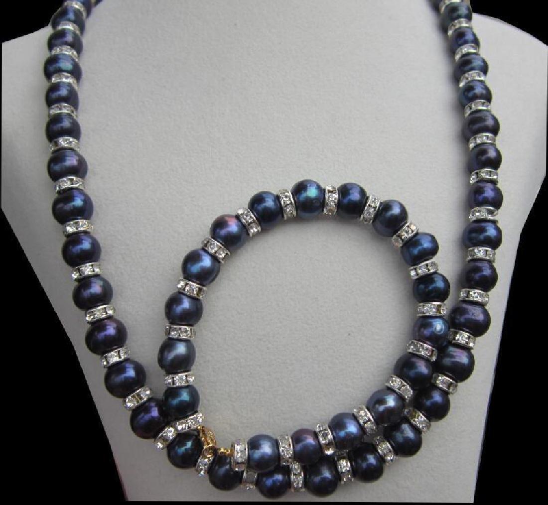 "Tahitian Black Blue Pearl Necklace 18""+ Pearl Bracelet - 3"