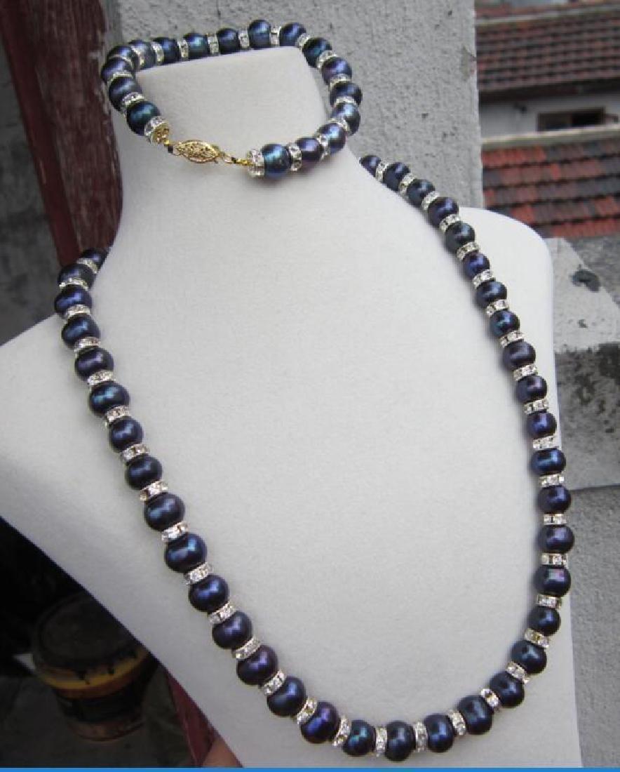 "Tahitian Black Blue Pearl Necklace 18""+ Pearl Bracelet - 4"