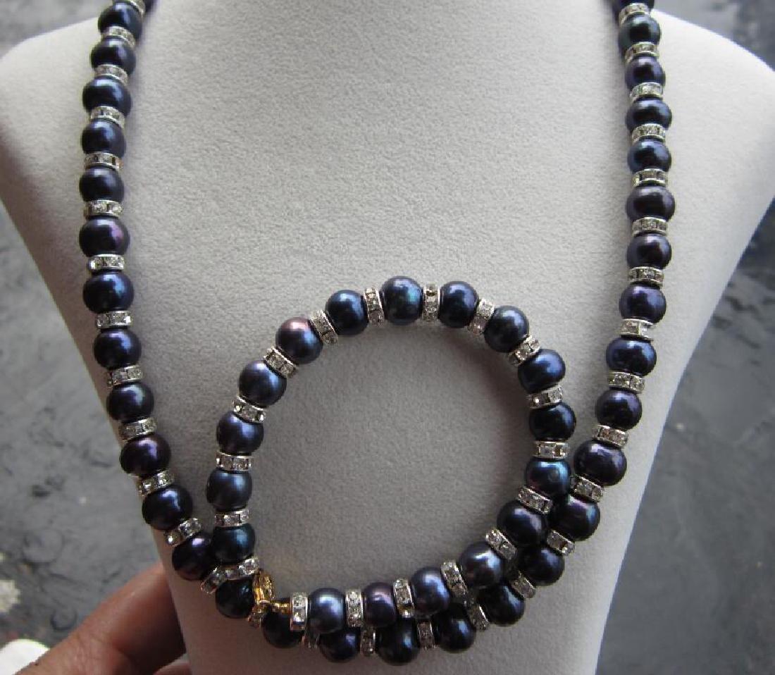 "Tahitian Black Blue Pearl Necklace 18""+ Pearl Bracelet - 5"