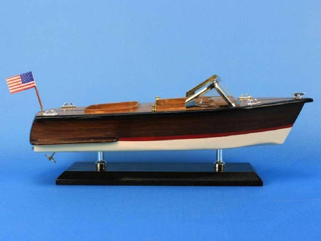 "Wooden Chris Craft Runabout Model Speedboat 14"" - 2"