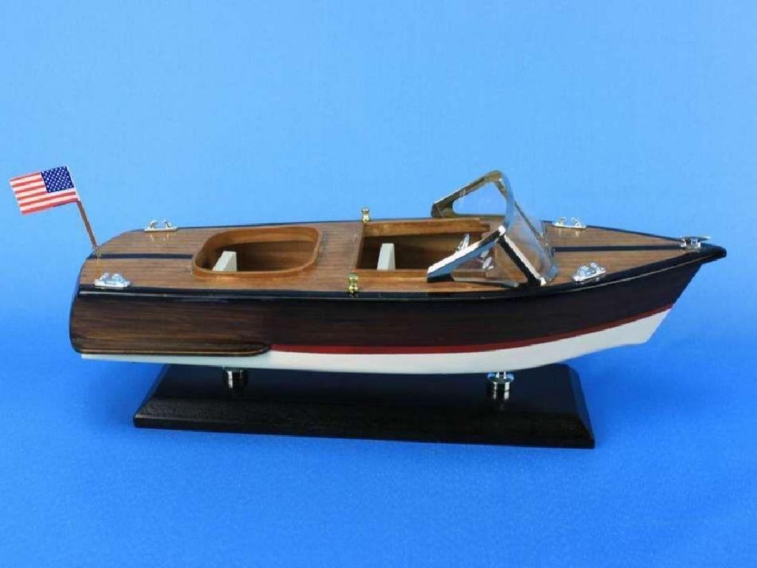"Wooden Chris Craft Runabout Model Speedboat 14"" - 3"