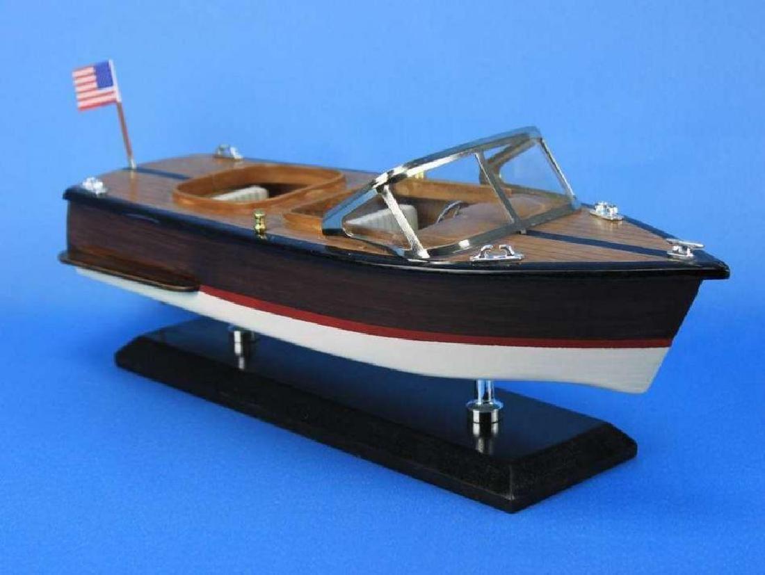"Wooden Chris Craft Runabout Model Speedboat 14"" - 4"