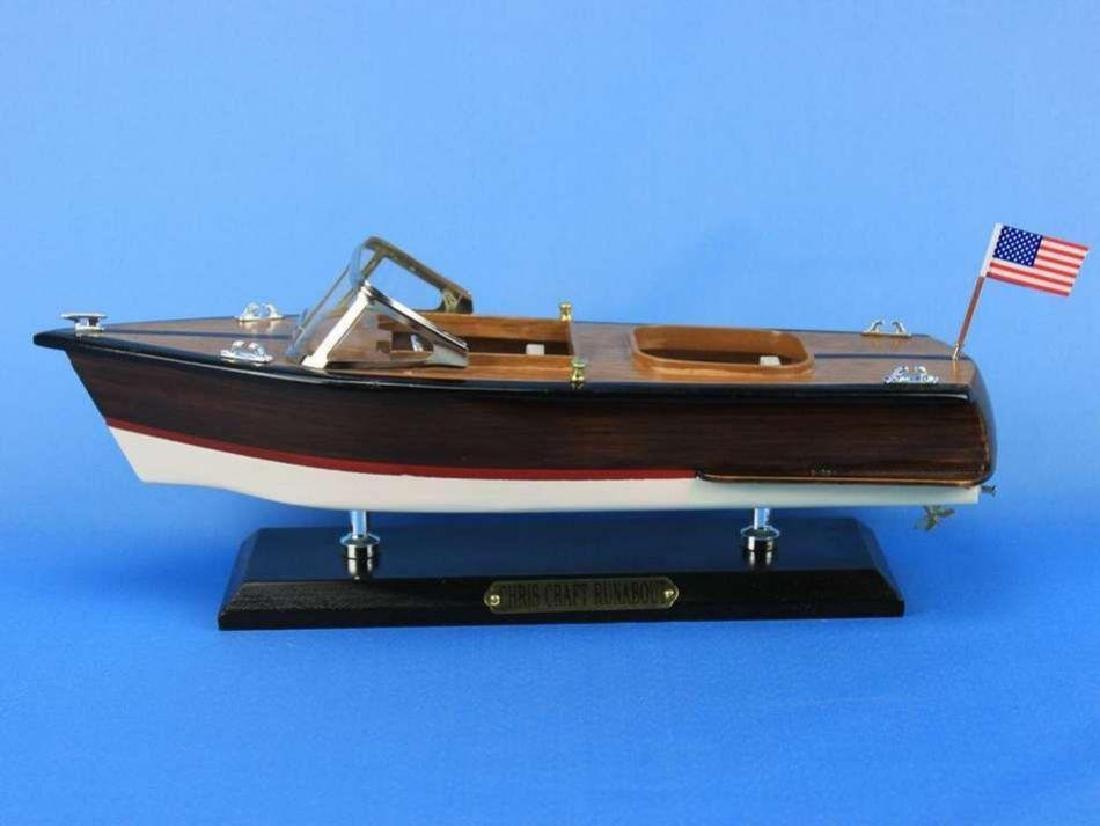 "Wooden Chris Craft Runabout Model Speedboat 14"" - 5"