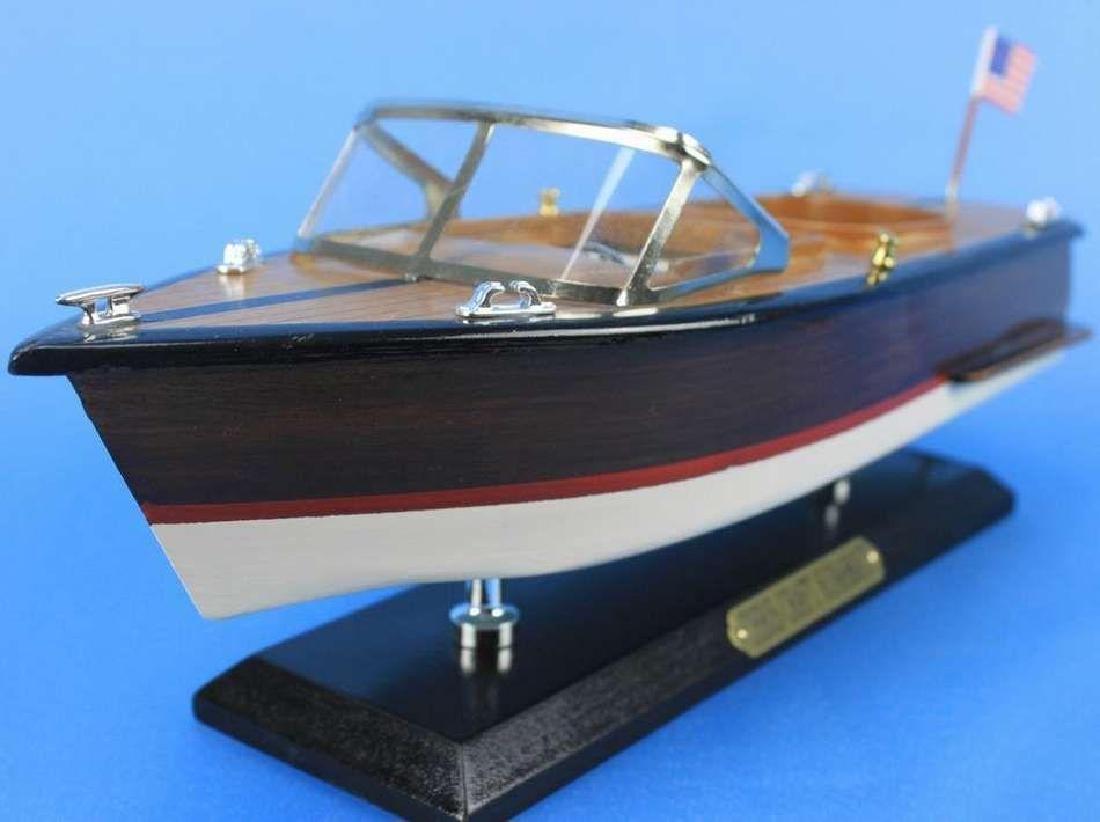 "Wooden Chris Craft Runabout Model Speedboat 14"" - 6"