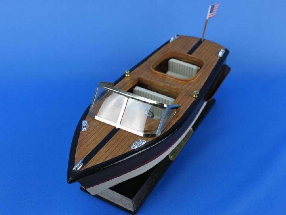 "Wooden Chris Craft Runabout Model Speedboat 14"" - 7"