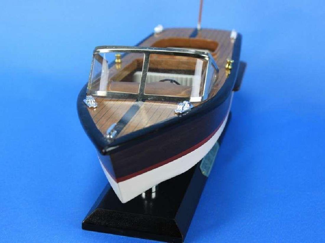 "Wooden Chris Craft Runabout Model Speedboat 14"" - 8"