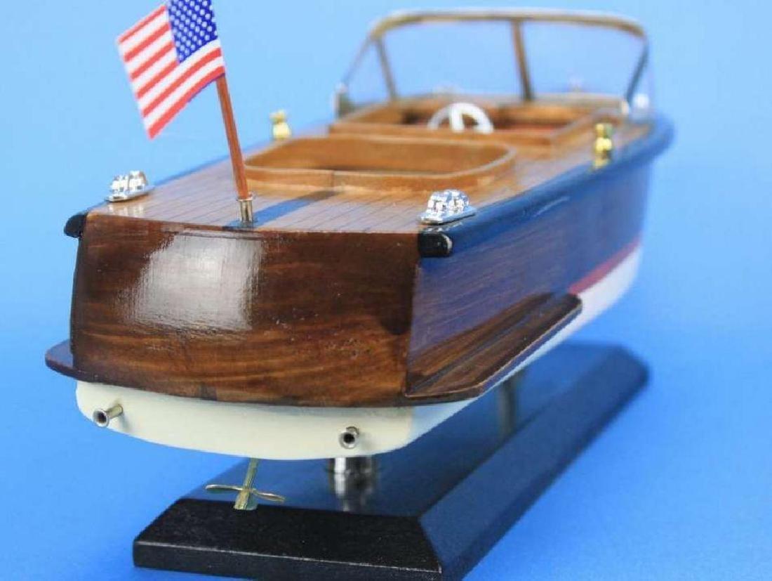 "Wooden Chris Craft Runabout Model Speedboat 14"" - 9"
