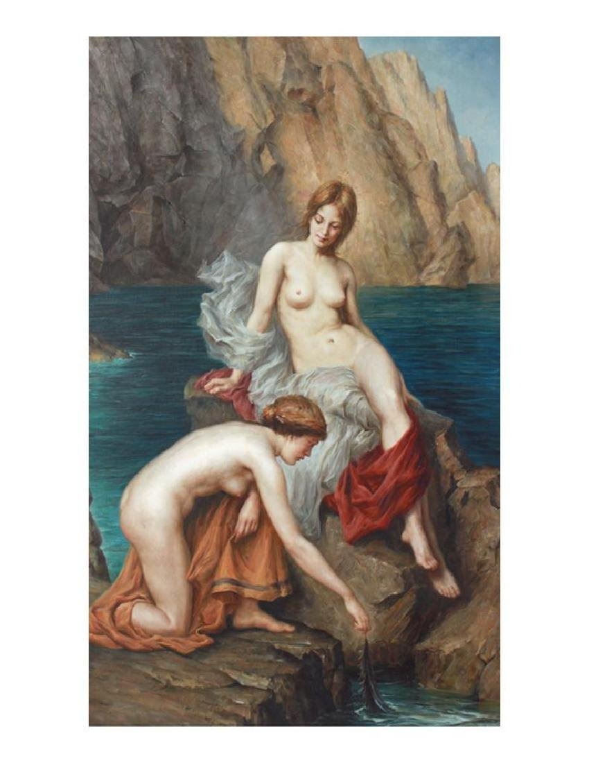 20thc Oil Painting, Allegorical Nudes