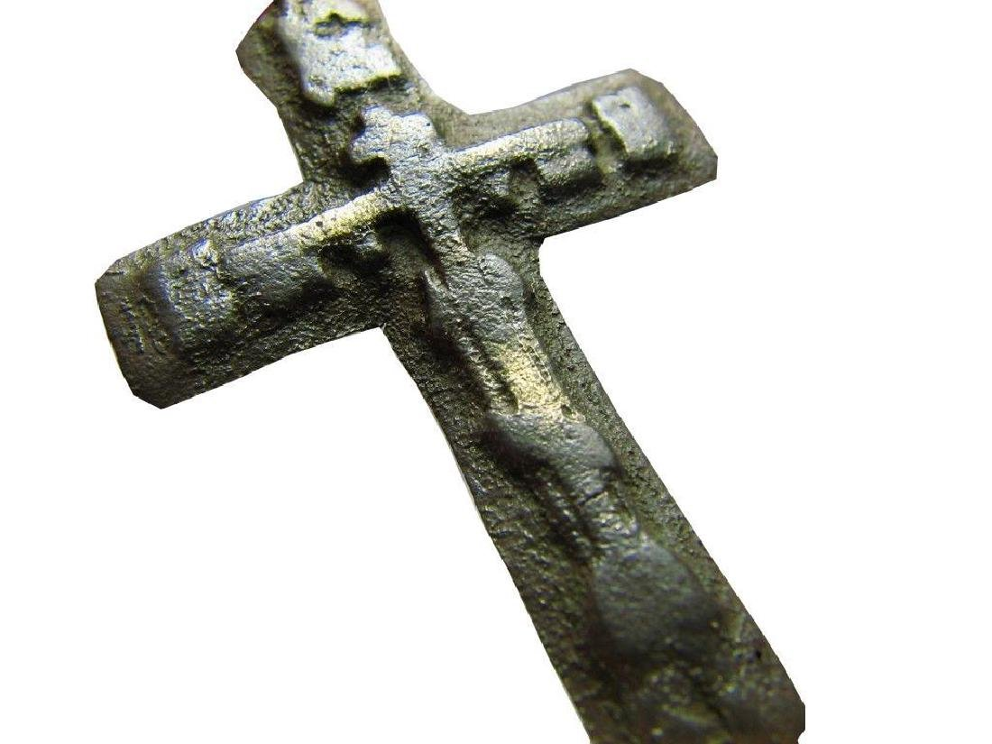 Rare Late Medieval Orthodox Bronze Cross Pendant - 6