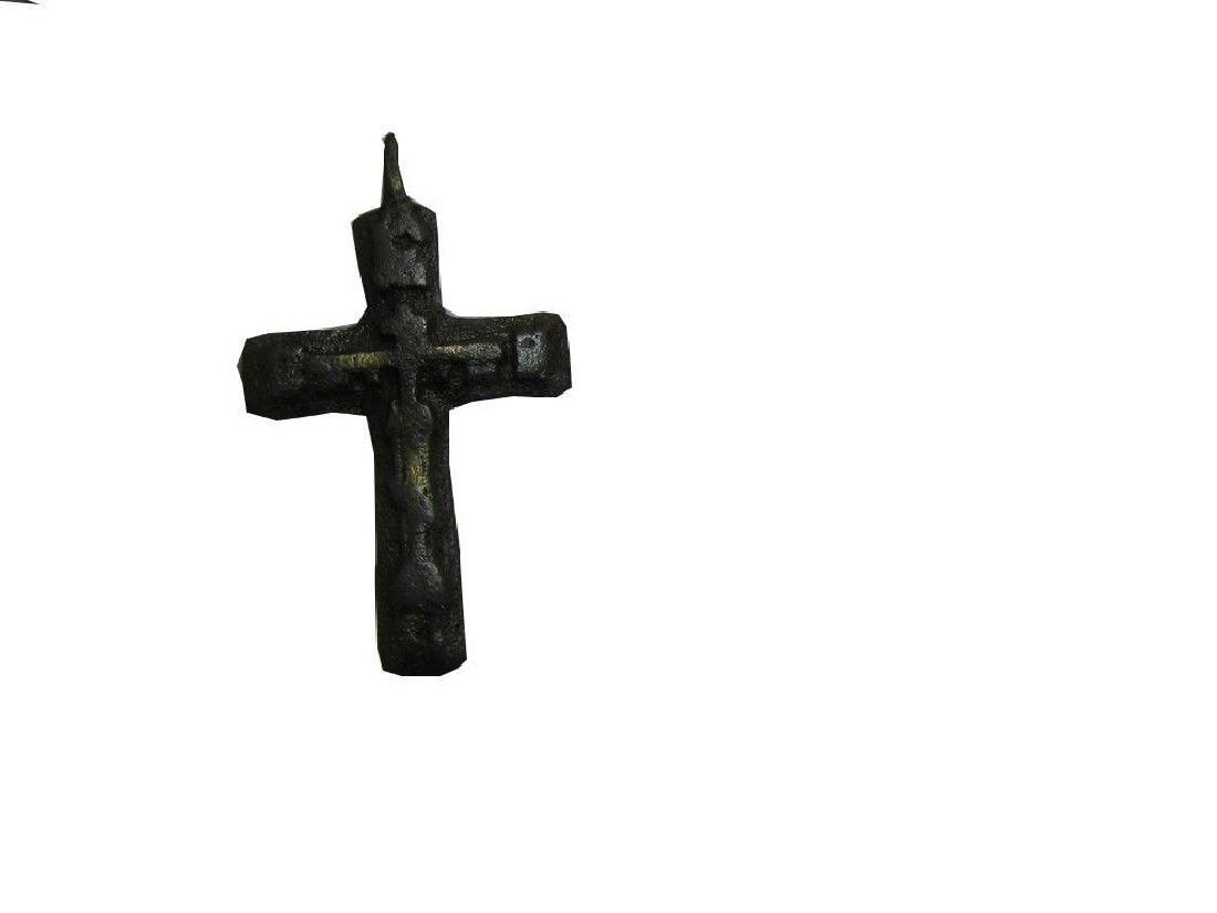 Rare Late Medieval Orthodox Bronze Cross Pendant - 8
