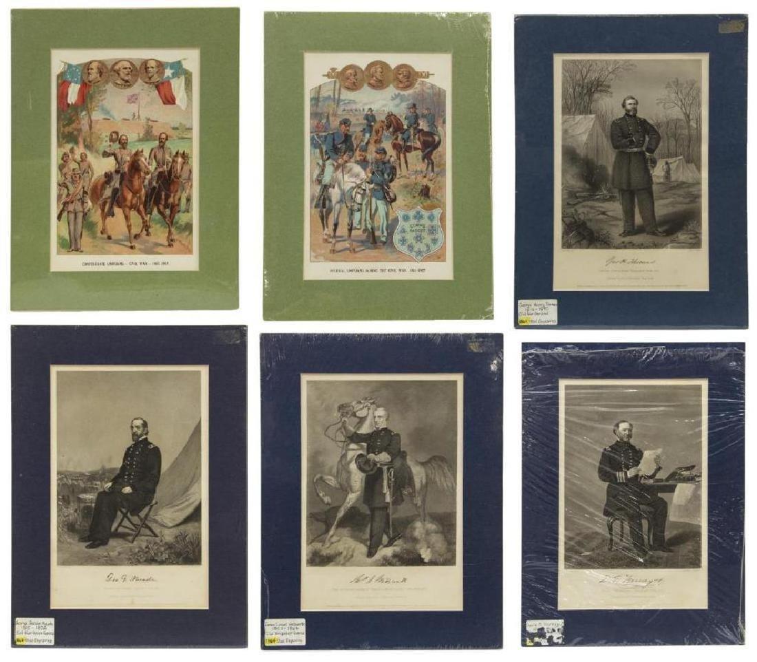 (6) Civil War Engravings, Lithos, Generals