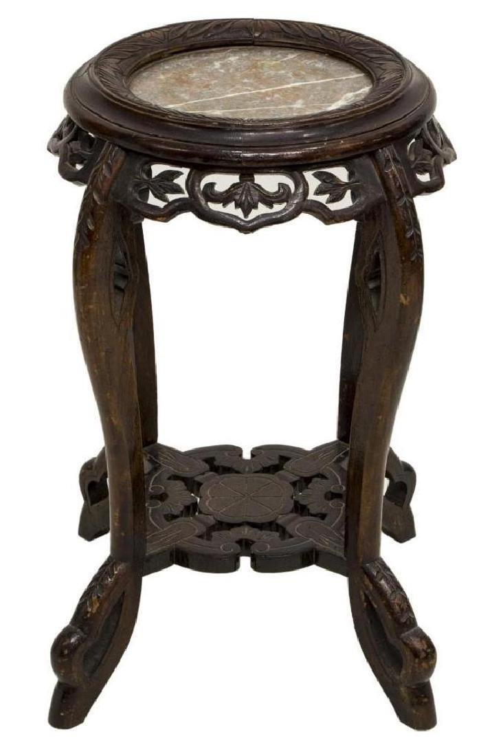 Asian Marble Top Foliate & Figural Side Table - 2