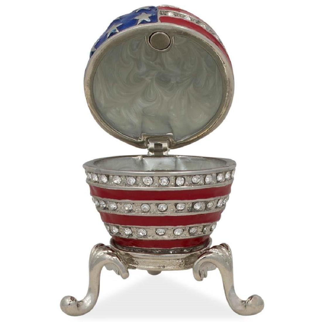 "2.5"" USA Flag Enameled Jeweled Faberge Inspired Egg - 3"