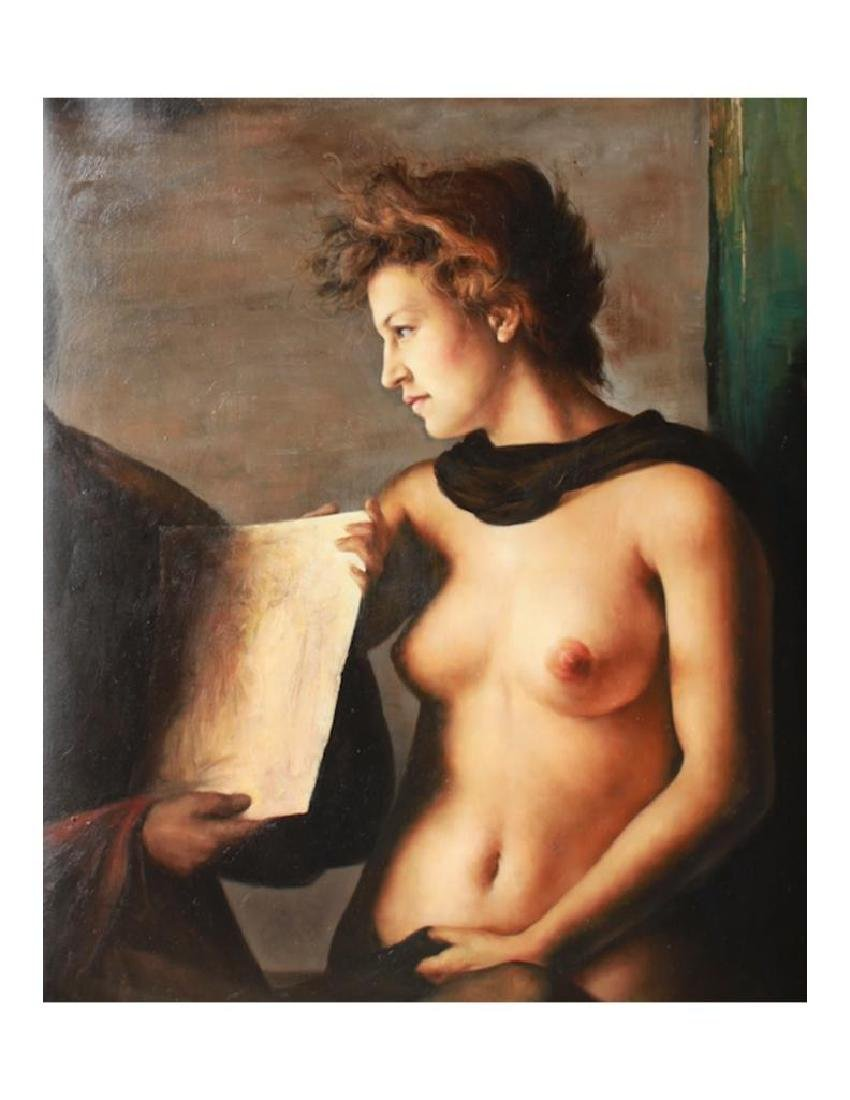 20thc Signed Oil Painting, Nude Study