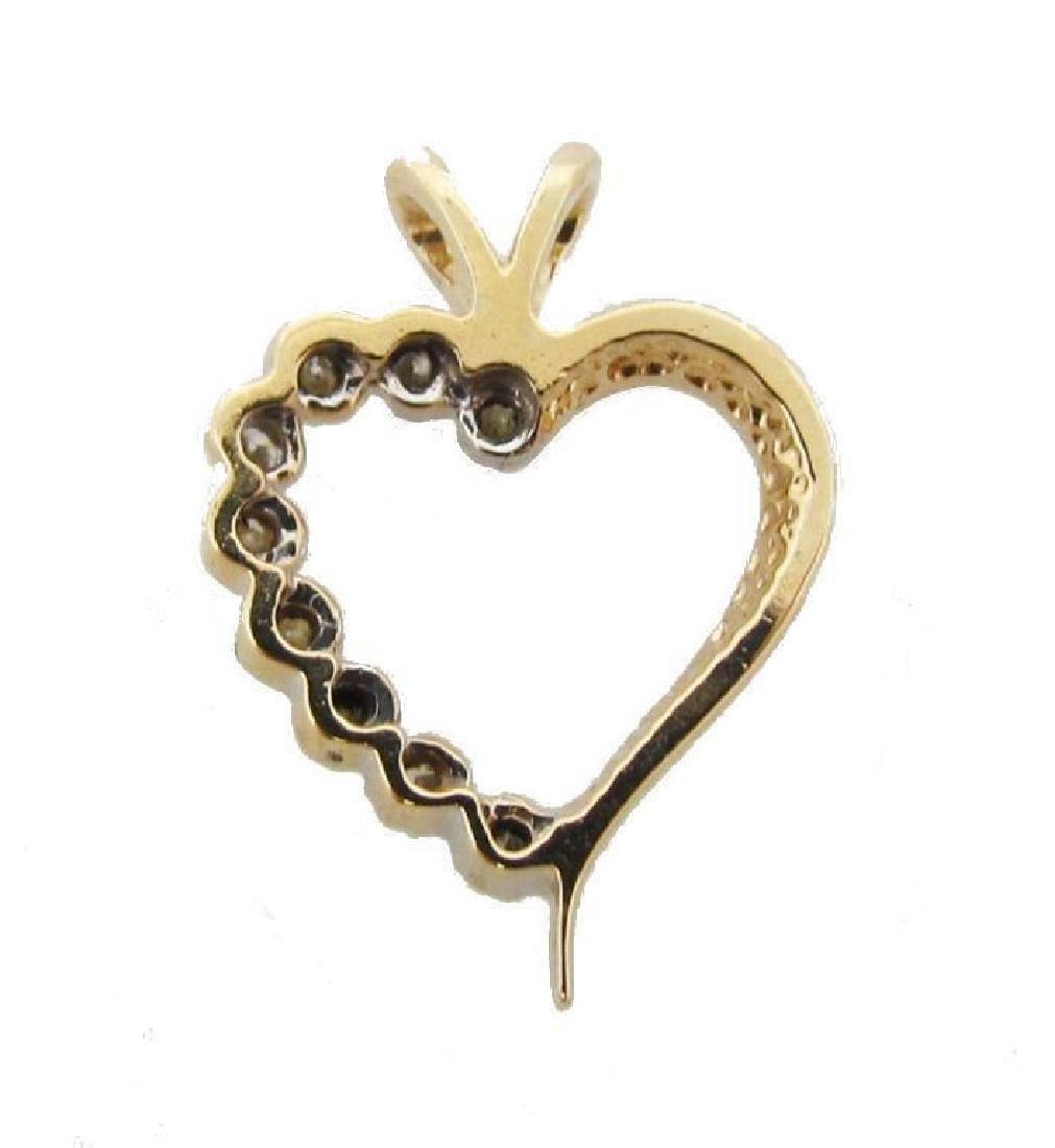 14kt Gold & Diamond Heart Pendant - 4