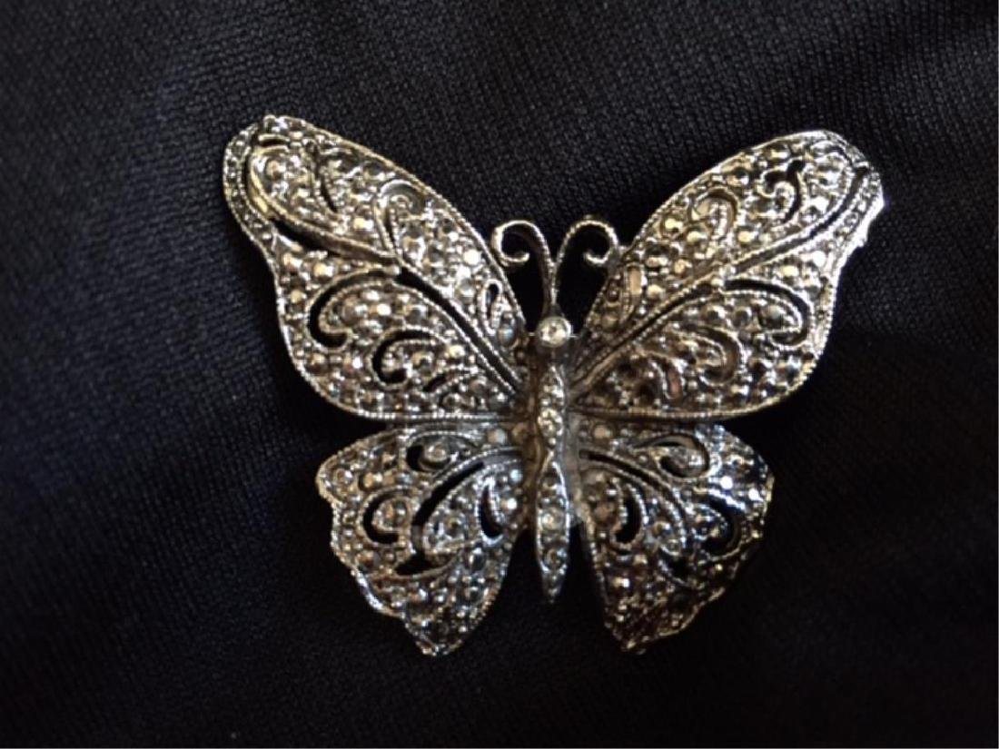 Vintage Silver Marcasite Butterfly Brooch - 2