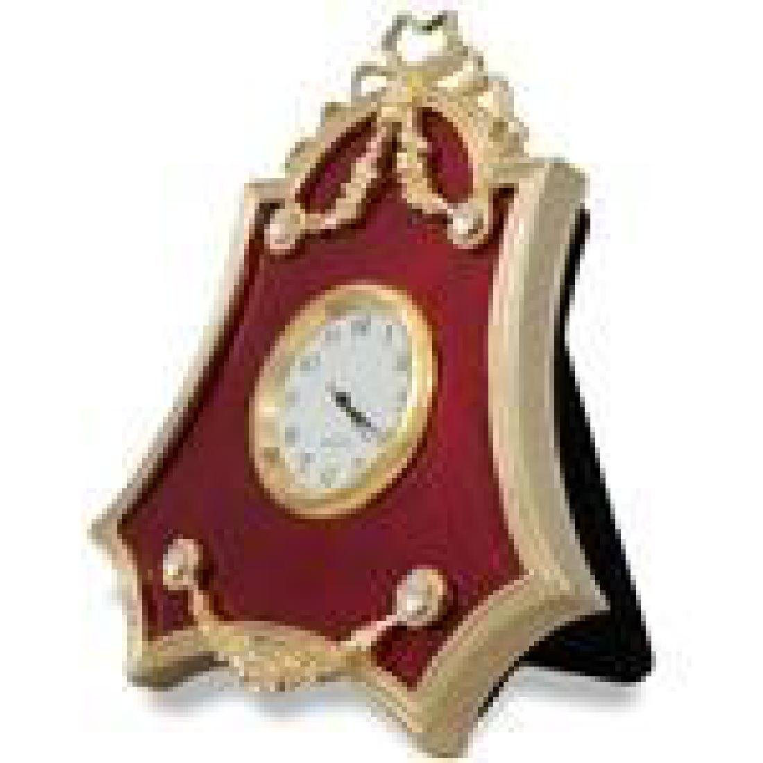 """4"""" Faberge-Inspired Red Enameled Guilloche Russian"""