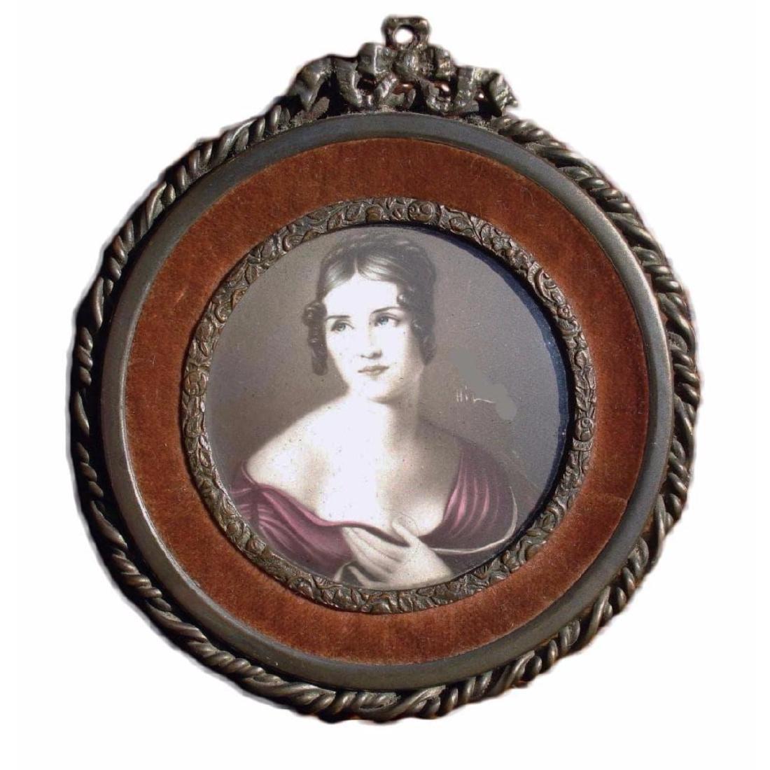Antique Miniature Portrait of a Lady