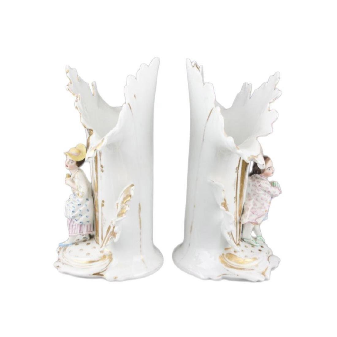 Pair of mid 19thc French Porcelain Flair Vases - 2