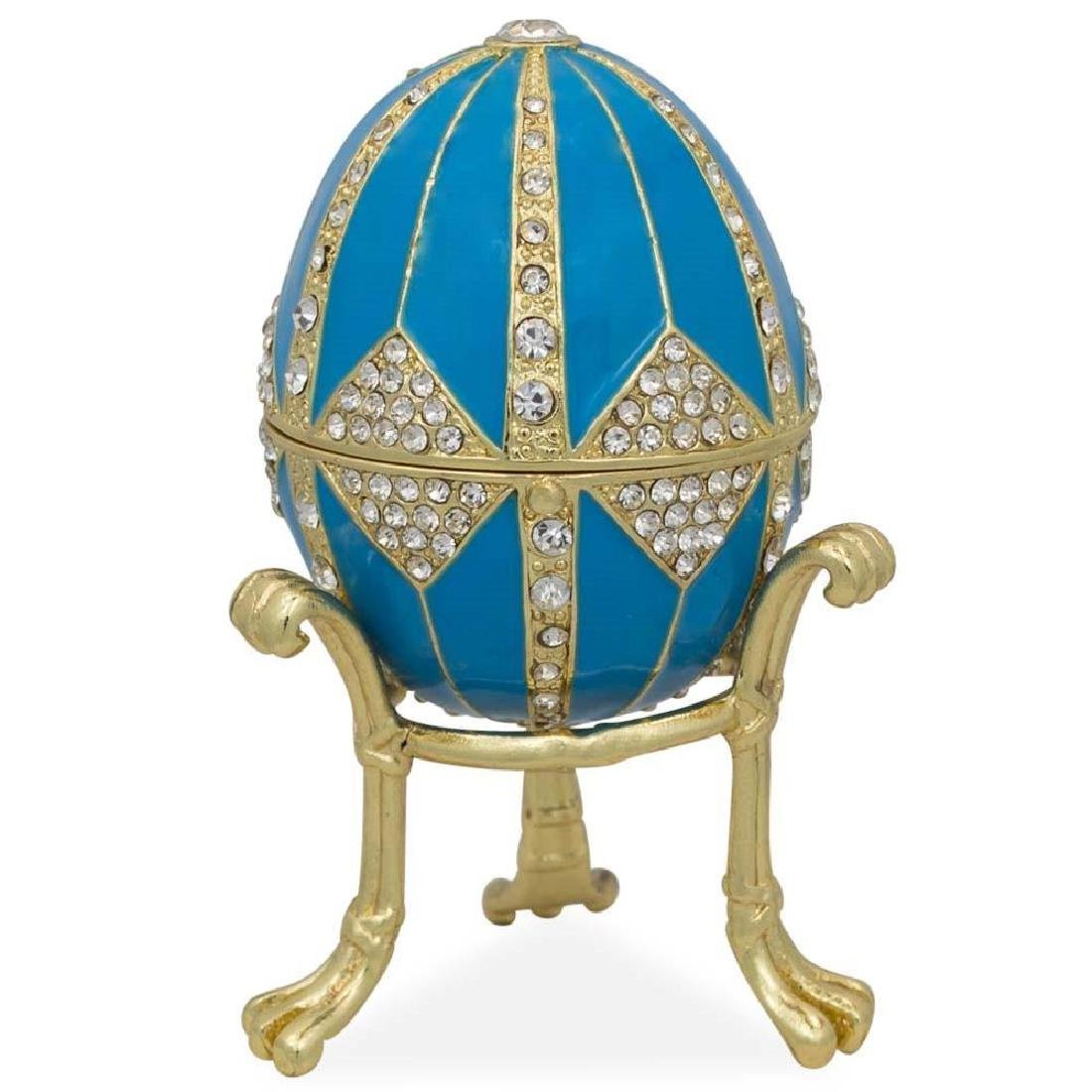 "3.15"" Crystal Rhombus On Blue Enamel Faberge Inspired"