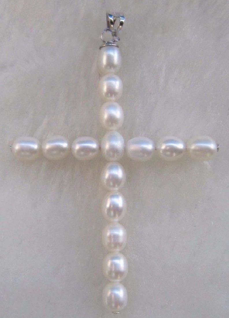 White Aaa Natural 14k Gold South Sea Pearl Cross
