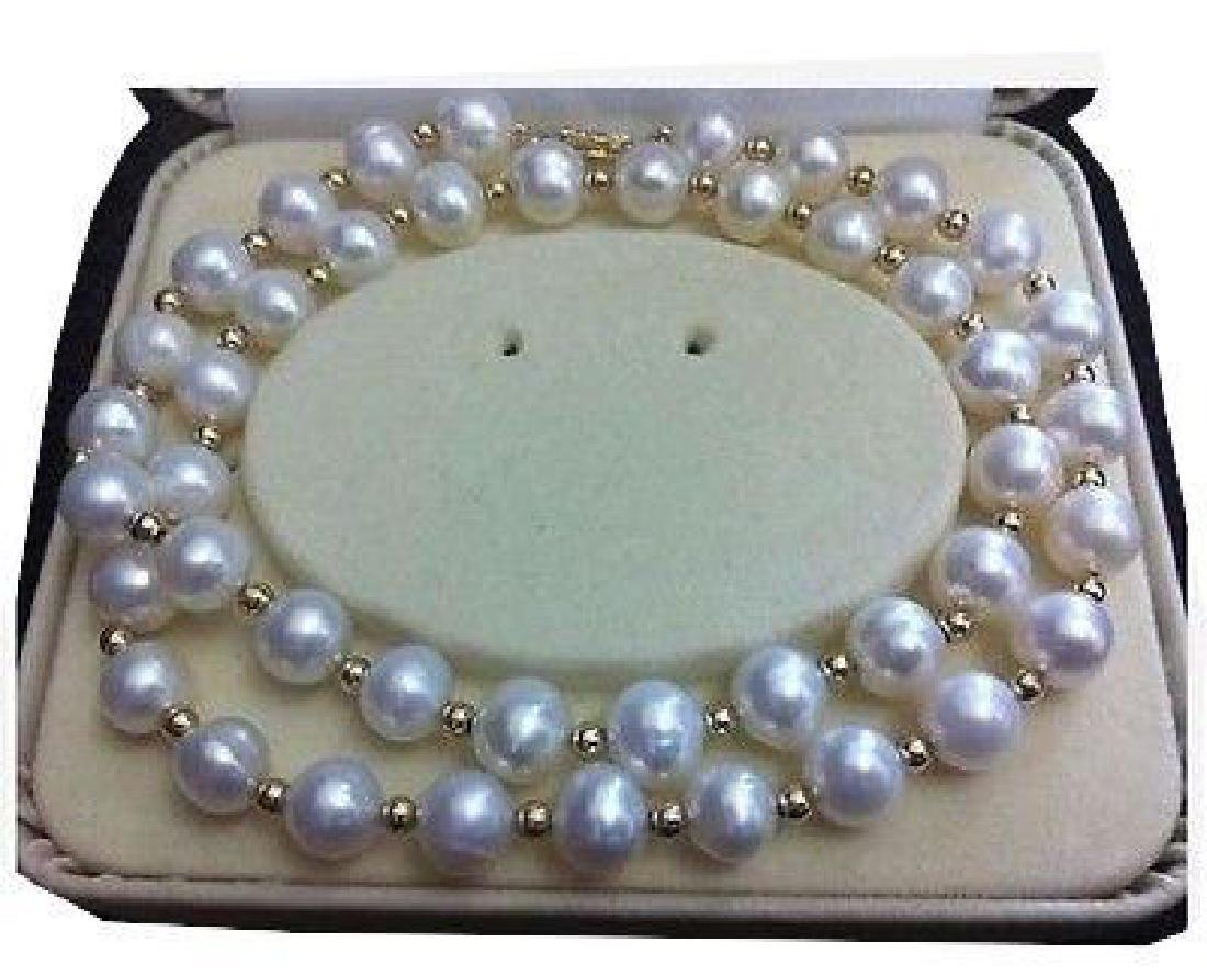 Aaa+ 9-10mm Akoya White Pearl Necklace 20 Inch 14k Gold