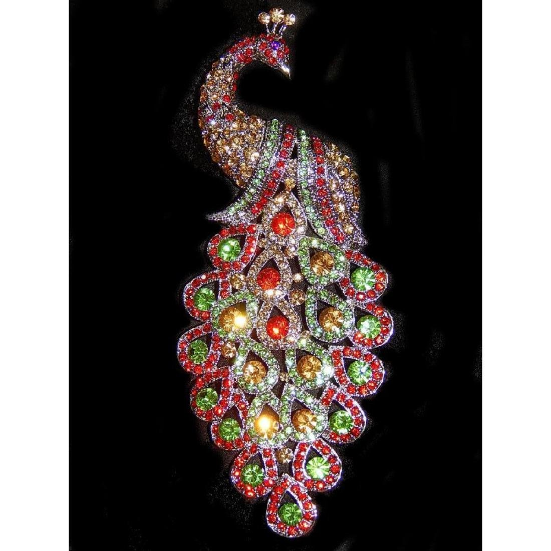 "5.3"" Peacock Multicolor Rhinestone Crystal Brooch /pin"