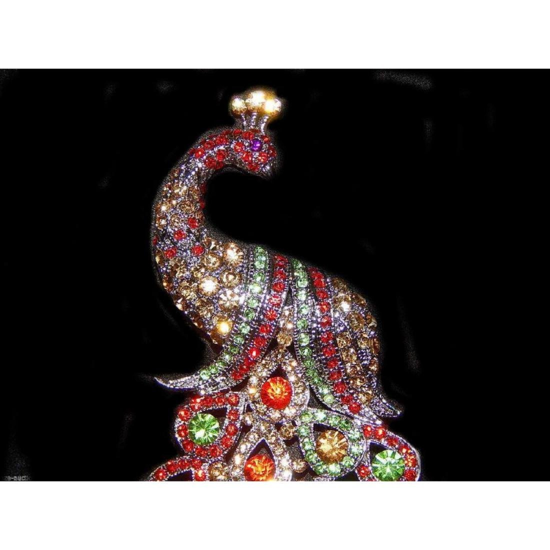 "5.3"" Peacock Multicolor Rhinestone Crystal Brooch /pin - 2"