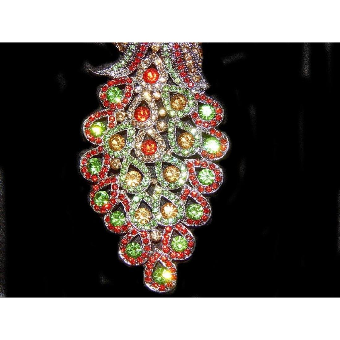 "5.3"" Peacock Multicolor Rhinestone Crystal Brooch /pin - 3"