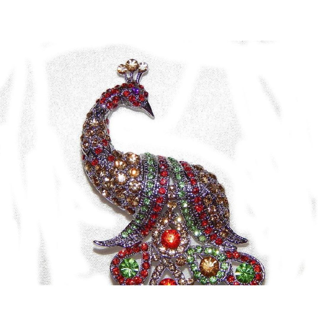"5.3"" Peacock Multicolor Rhinestone Crystal Brooch /pin - 4"