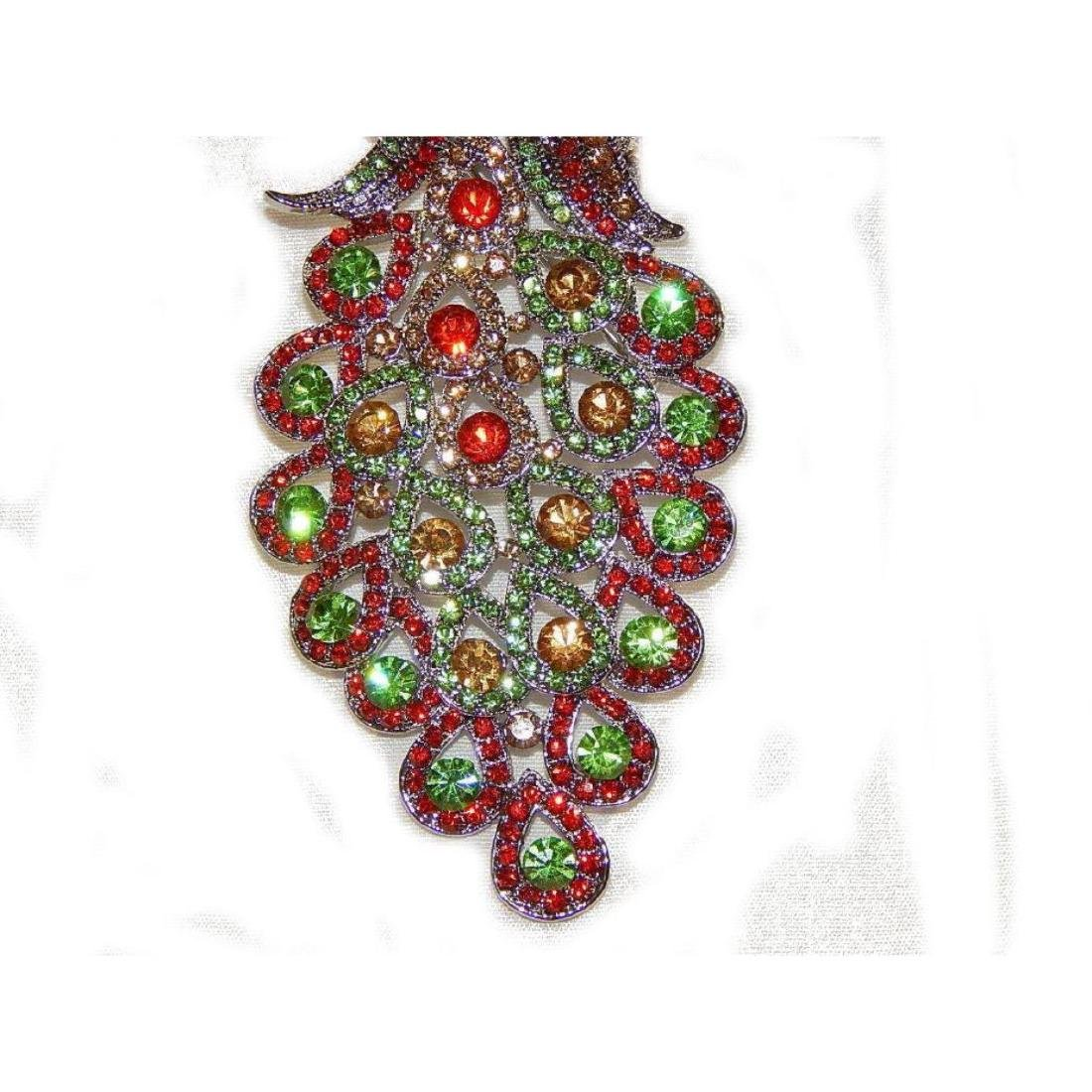 "5.3"" Peacock Multicolor Rhinestone Crystal Brooch /pin - 5"