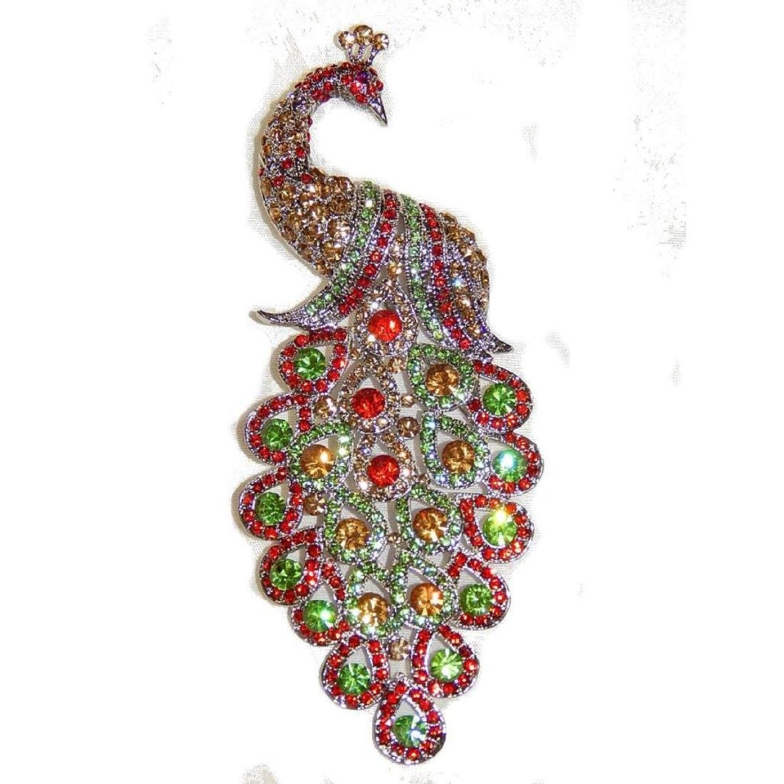 "5.3"" Peacock Multicolor Rhinestone Crystal Brooch /pin - 6"