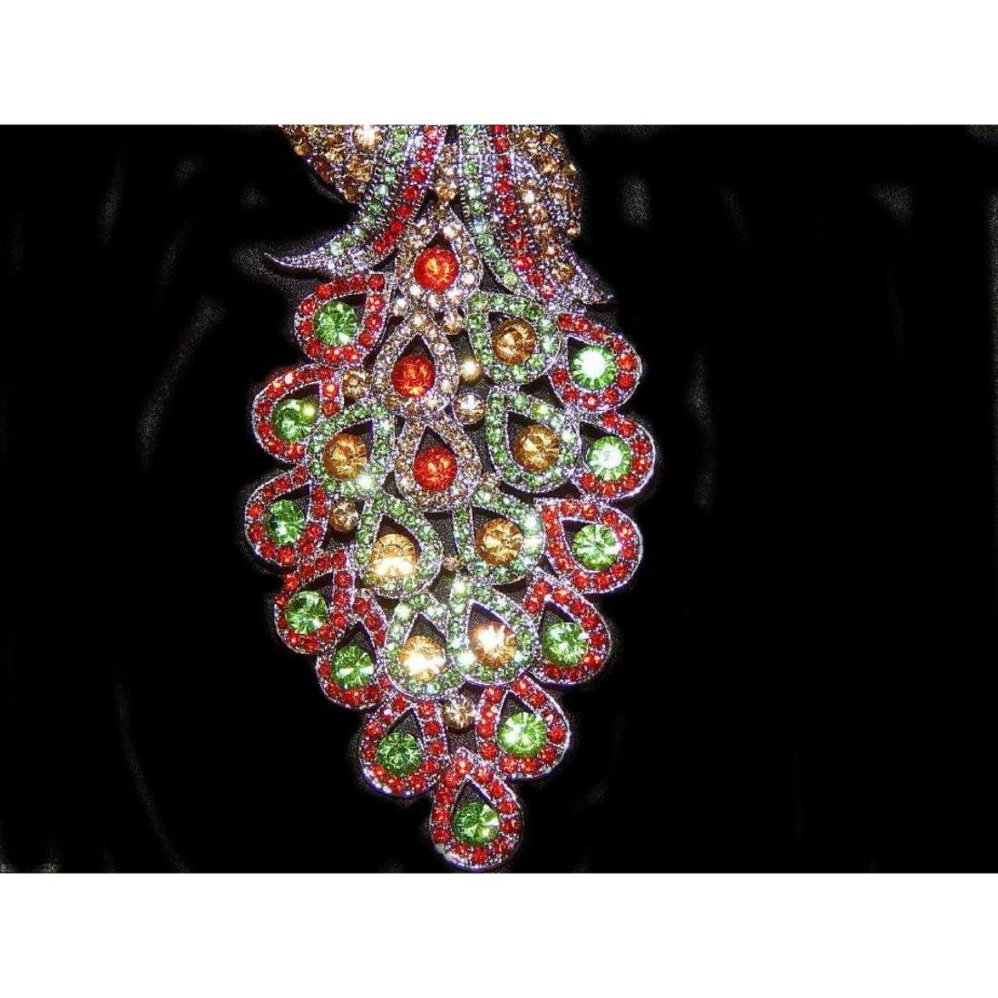 "5.3"" Peacock Multicolor Rhinestone Crystal Brooch /pin - 7"