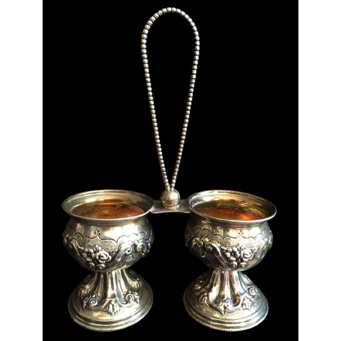 19thc Sterling Embossed Roses Double Salt Cellar