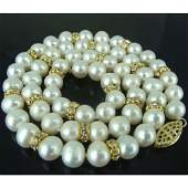 """20"""" 9-10mm Real South Sea White Pearl Necklace 14k Gold"""