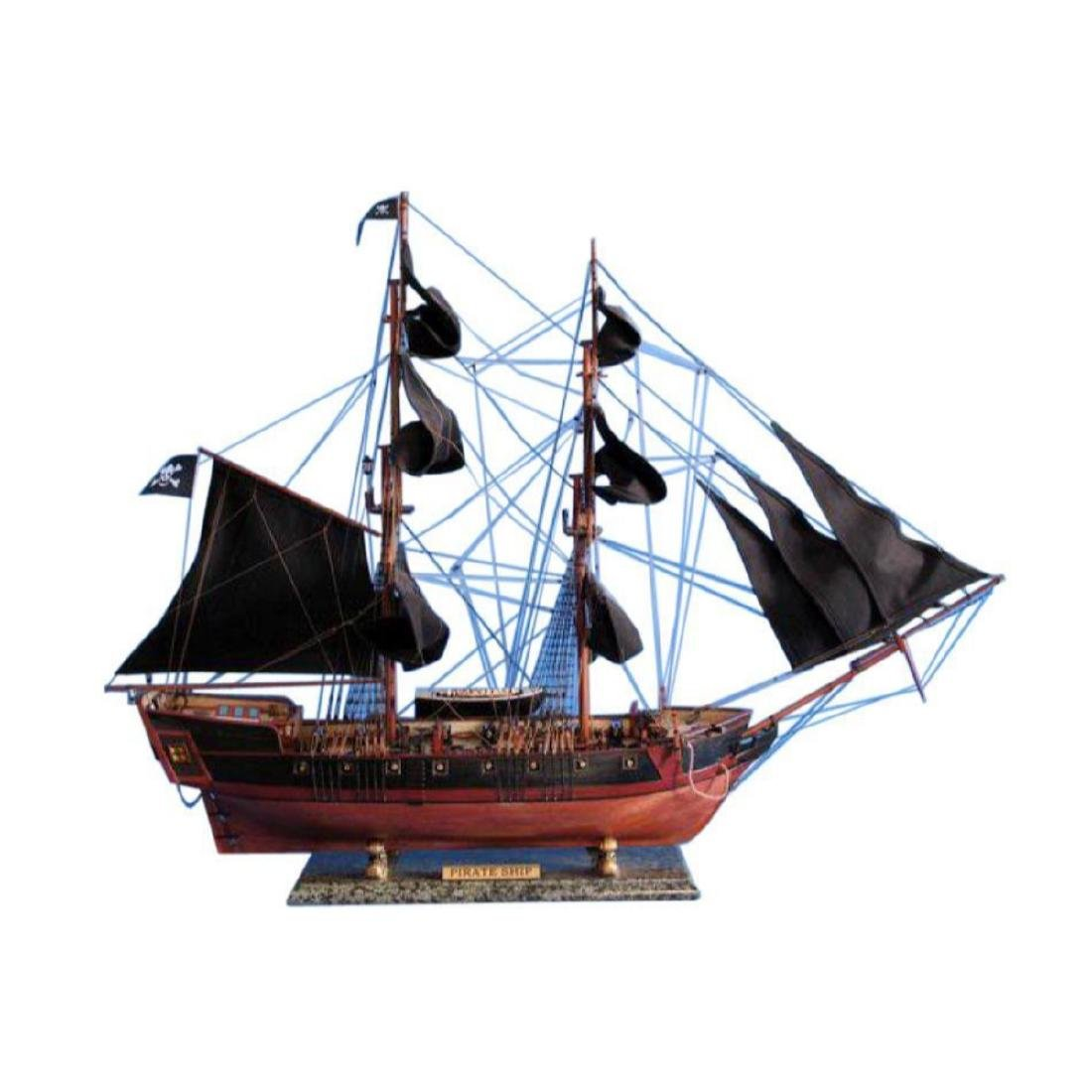 """Wooden Caribbean Pirate Ship Model Limited 36"""" - Black"""