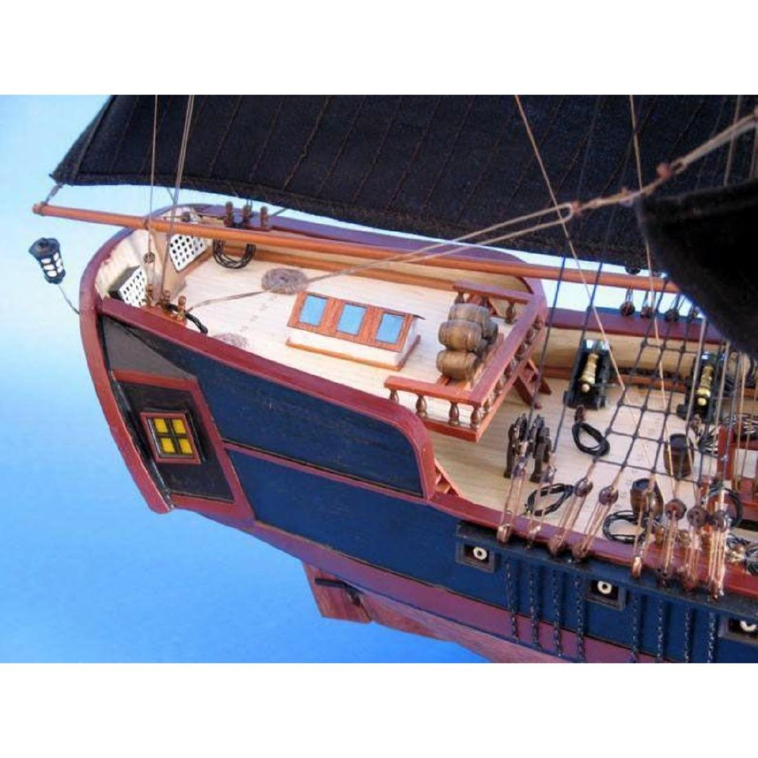 """Wooden Caribbean Pirate Ship Model Limited 36"""" - Black - 5"""