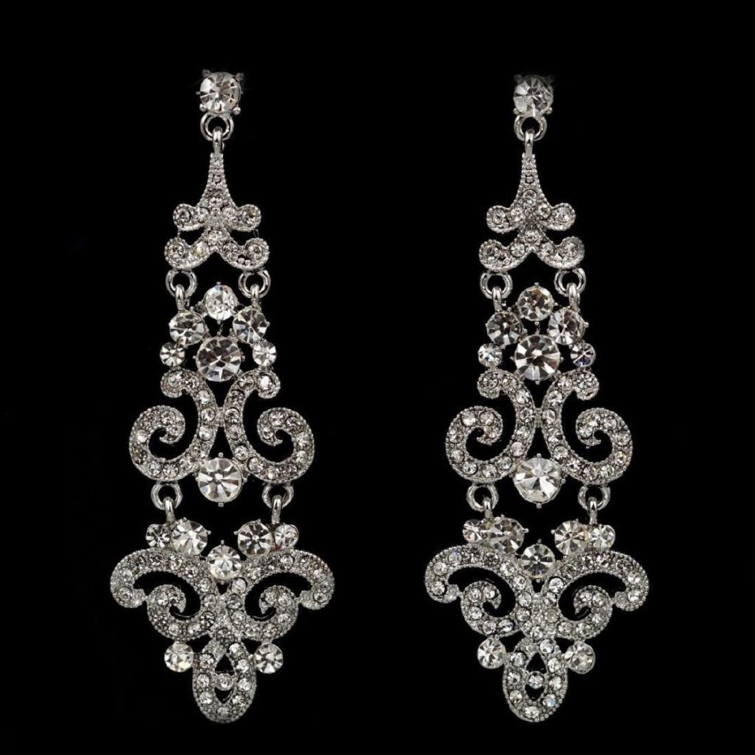 Rhodium Plated Clear Crystal Rhinestone Wedding Bridal