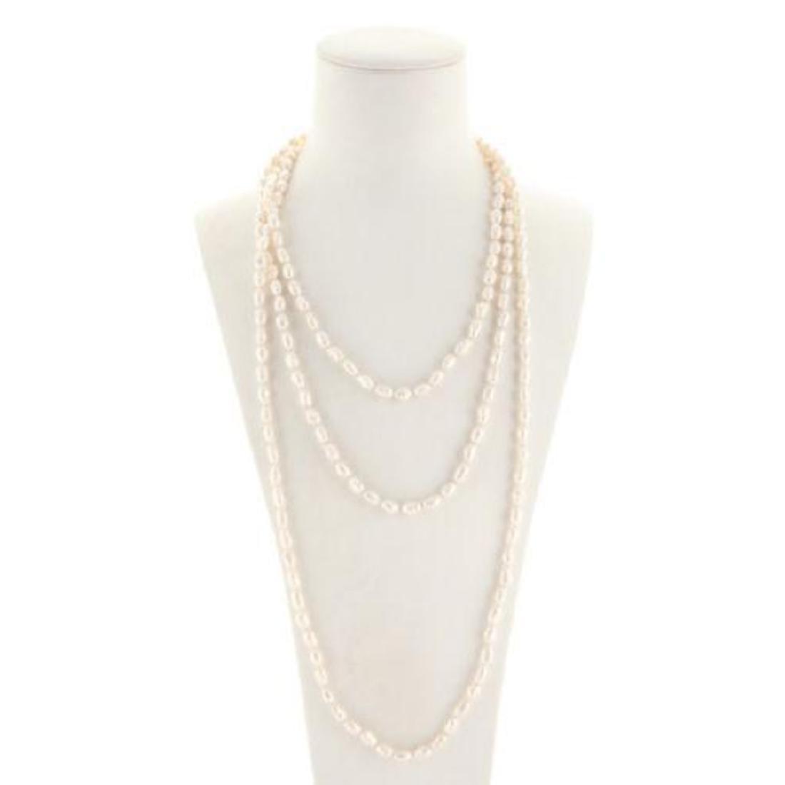 Designer White Fresh Water Pearl Strand Necklace